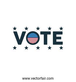 vote word election day with usa flag and stars