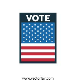 vote word election day with square usa flag