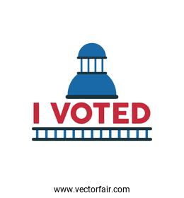 i voted lettering with government building
