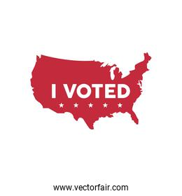 i voted lettering in usa map