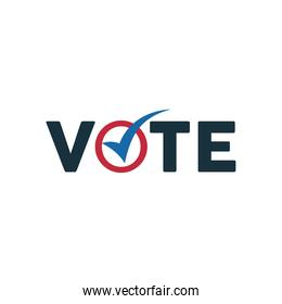 vote word election day with check symbol icon