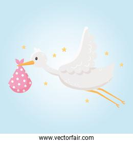 baby shower, flying cute stork with newborn in blanket