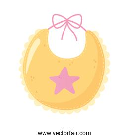 baby shower, yellow bib with star decoration clothes