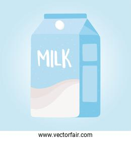 milk box, grocery purchases on blue background