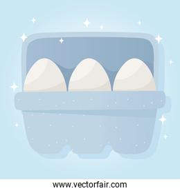 eggs on box breakfast, grocery purchases