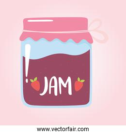 jar with jam strawberry, grocery purchases