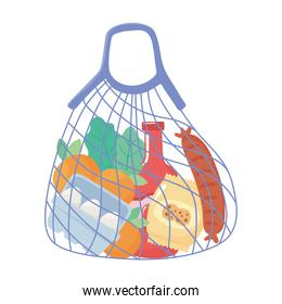 reusable cloth string bag with products grocery purchases