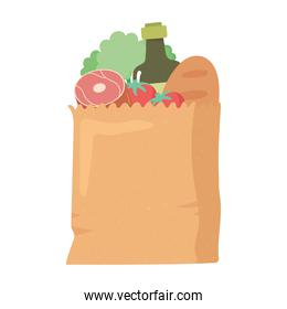 shopping paper bag with bread olive oil meat and lettuce, grocery purchases