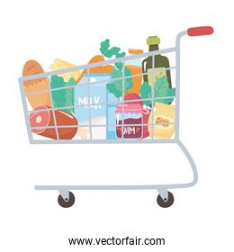 shop cart with bread meat milk jam carrot and more, grocery purchases