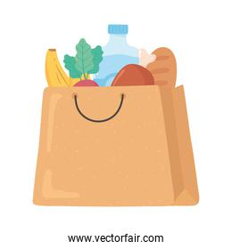 shopping paper bag with meat bread banana, grocery purchases