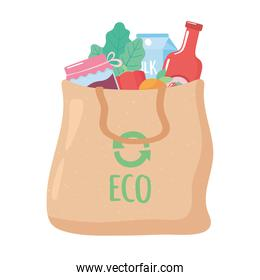cloth eco bag with many products, grocery purchases