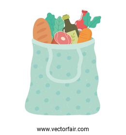 shopping bag with bread, olive oil, carrot, grocery purchases