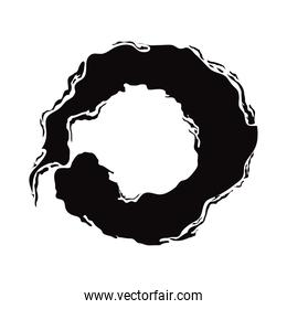 black brush strokes in the form of a circle, design element