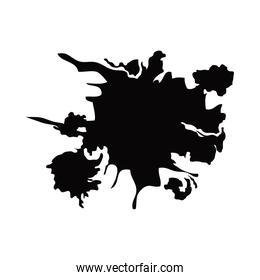 black paint stroke spot abstract element white background