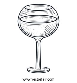 goblet cocktail and alcohol drink, thin line style icon