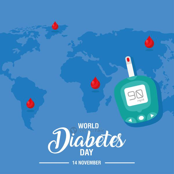 world diabetes day campaign with glucometer and earth planet