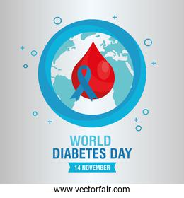 world diabetes day campaign with blue ribbon