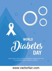 world diabetes day campaign with lettering and ribbon