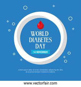 world diabetes day campaign with lettering and drop blood