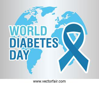 world diabetes day campaign with blue ribbon and earth planet