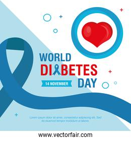 world diabetes day campaign with blue ribbon and heart