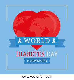 world diabetes day campaign with earth planet in heart