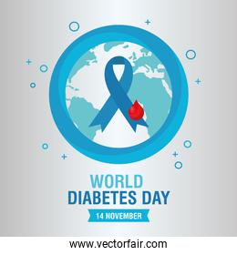 world diabetes day campaign with blue ribbon in earth planet and blood drop