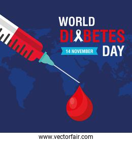 world diabetes day campaign with blood drop in syringe and earth maps