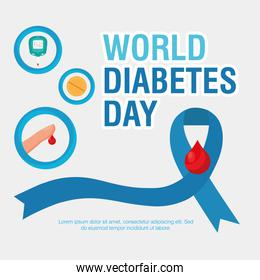 world diabetes day campaign with blue ribbon and set icons