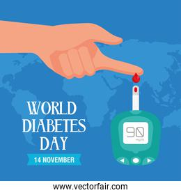 world diabetes day campaign with glucometer with finger human