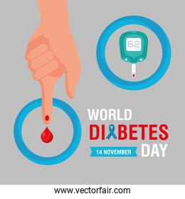 world diabetes day campaign with glucometer with finger