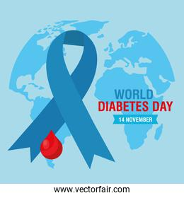 world diabetes day campaign with blood drop in blue ribbon and earth planet