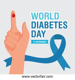 world diabetes day campaign with blue ribbon and blood drop  finger