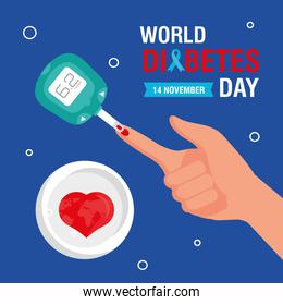 world diabetes day campaign with glucometer in finger and heart