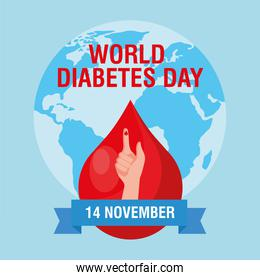 world diabetes day campaign with blood drop in finger and earth planet
