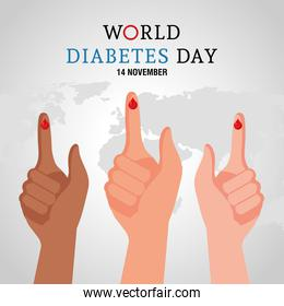 world diabetes day campaign with blood drops in fingers