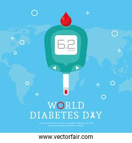 world diabetes day campaign with glucometer and earth planet maps