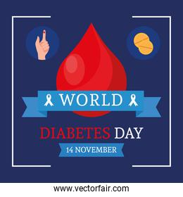 world diabetes day campaign with blood drop and ribbon frame