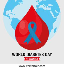world diabetes day campaign with blue ribbon in blood drop and earth planet