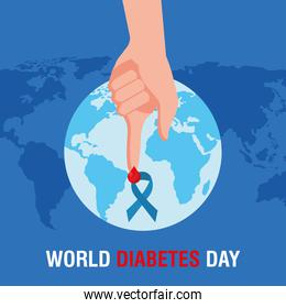 world diabetes day campaign with blue ribbon and blood drop in finger