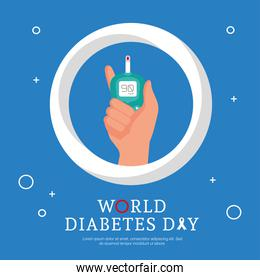 world diabetes day campaign with hand lifting glucometer