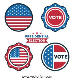 bundle of four usa presidential election icons