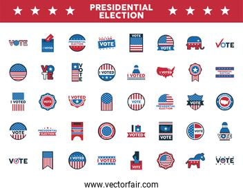 bundle of fourty usa presidential election icons