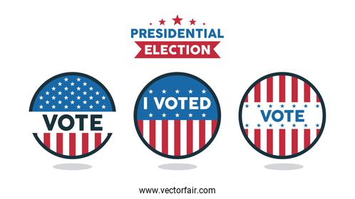 presidential election lettering with set stamps