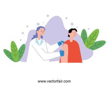 female doctor with patient injecting vaccine