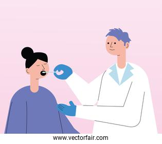 male doctor with patient taking covid19 test