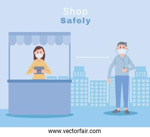 young couple wearing face masks shop safety
