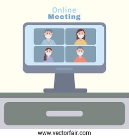 young people wearing face masks in desktop online meeting