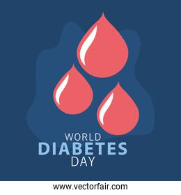 world diabetes day campaign with blood drops