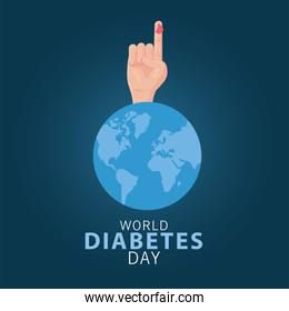 world diabetes day poster with blood drop in finger and earth planet